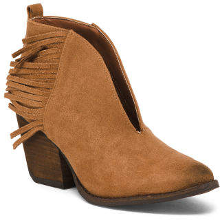 Stacked Heel Fringe Ankle Booties