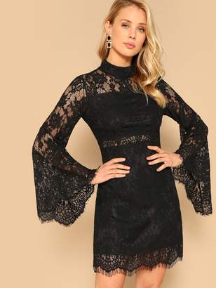 cea8b252a40b1d Shein Mock-neck Bell Sleeve Floral Lace Dress