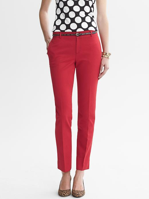 Banana Republic Camden-Fit Red Jacquard Ankle Pant
