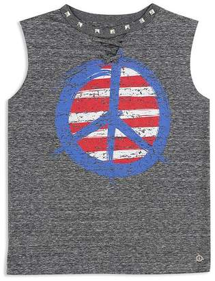 Butter Shoes Girls' Studded Lace-Up Peace Sign Tank - Little Kid, Big Kid
