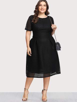 Shein Plus Box Pleated Striped Mesh Dress