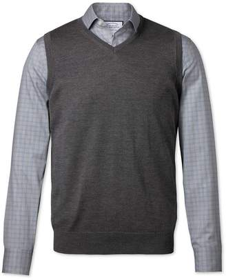 Charles Tyrwhitt Charcoal Merino Wool Sweater Vest Size XL