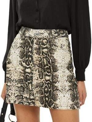 Topshop PETITES Snakeskin-Print Denim Skirt