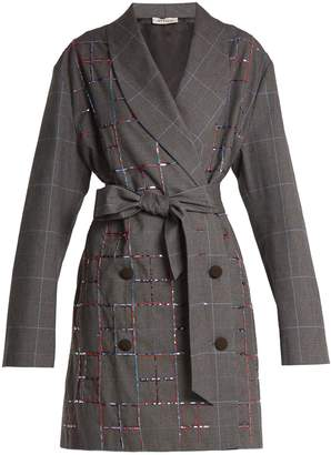 ATTICO Violet double-breasted checked cotton jacket