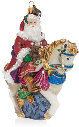 Jay Strongwater Santa on Horse Glass Christmas Ornament