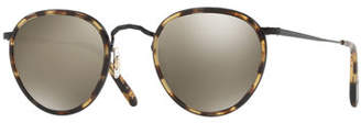 Oliver Peoples MP-2 Round Metal Sunglasses, MBK/Hickory Tortoise/Graphite Gold