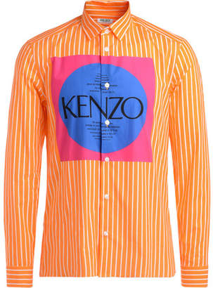 orange and white striped shirt with multicolor logo