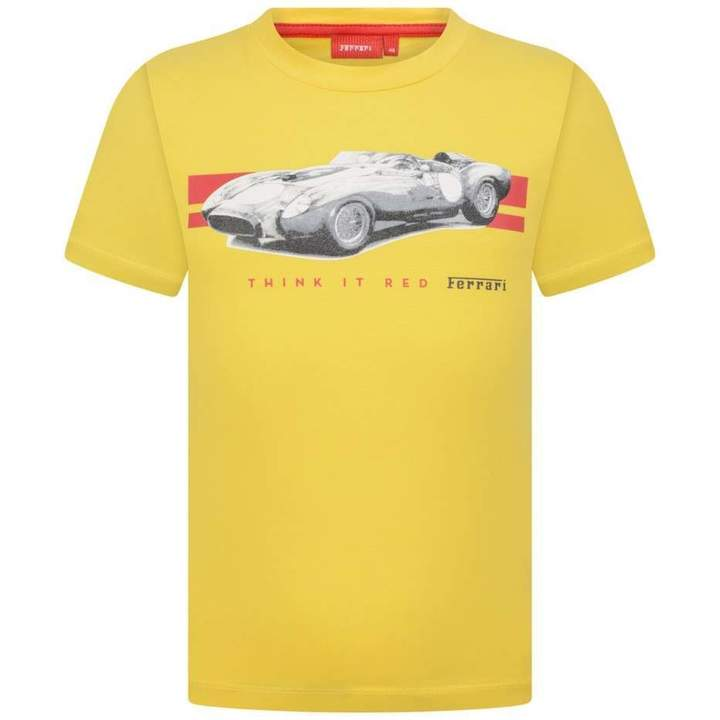 FerrariBoys Yellow Car Print Cotton Top