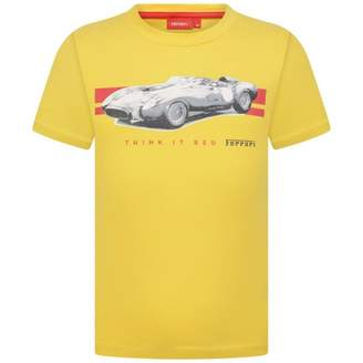 Ferrari FerrariBoys Yellow Car Print Cotton Top