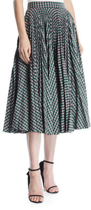 Calvin Klein Full Circle Pleated Check Calf-Length Skirt