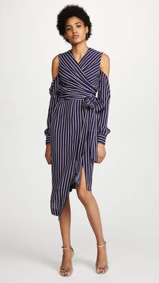 Nicholas Pinstripe Wrap Dress