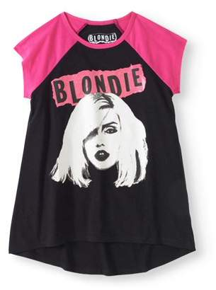 Blondie Girls' Bored Expression Short Sleeve Raglan Hi-Lo Graphic T-Shirt
