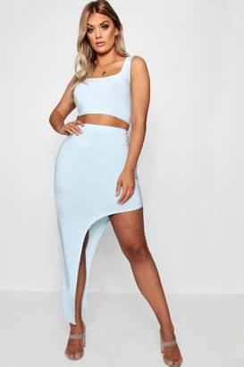 boohoo Plus Asymmetric Maxi Skirt Co-ord