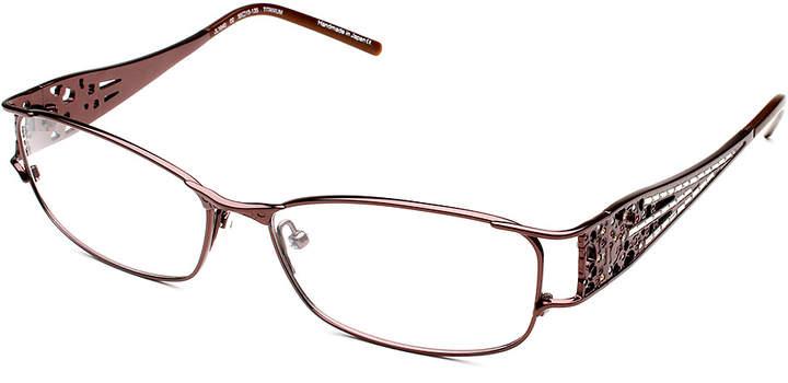Bronze Micropave Rhinestone Rectangle Eyeglasses - Women