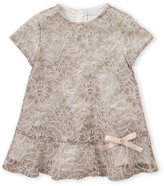 Roberto Cavalli Junior (Newborn Girls) Light Gold Floral Lace Dress