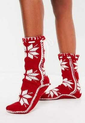 Missguided Red Nordic Knit Slipper Socks