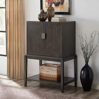 Southern Enterprises Keron Bar Storage Cabinet, Industrial, Brown