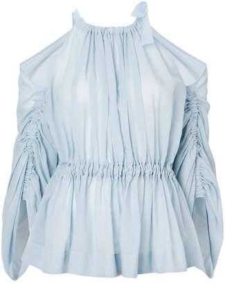 Fendi cold-shoulder belted blouse