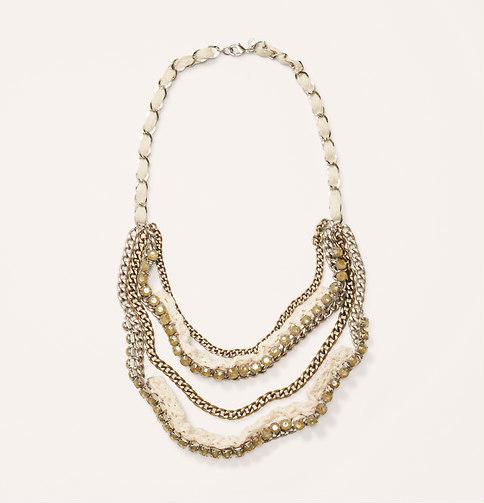LOFT Short White Crochet and Stone Necklace