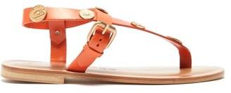 Álvaro González Andreina Coin Charm Leather Sandals - Womens - Orange