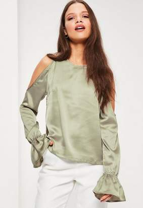 Missguided Petite Green Satin Cold Shoulder Top