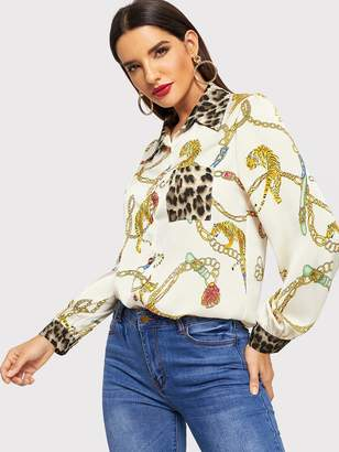 Shein Contrast Leopard Chain Print Blouse