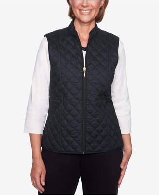 Alfred Dunner Petite Cotton Reversible Puffer Vest