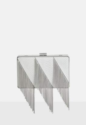 Missguided White Metal Fringe Box Clutch Bag