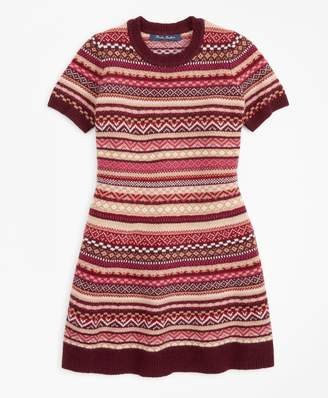 Brooks Brothers Girls Merino Wool-Blend Fair Isle Sweater Dress