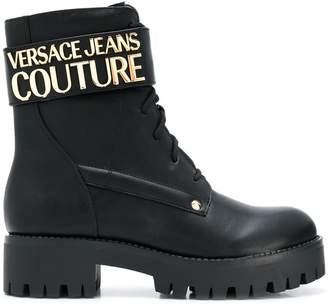 Versace logo plaque ankle boots