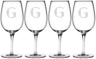 One Kings Lane Set of 4 Hudson Monogram Bordeaux Glasses