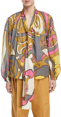 Marc Jacobs Abstract-Print Voile Tie-Neck Blouse