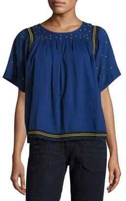 BA&SH Jimi Smocked Short-Sleeve Top, Bleu