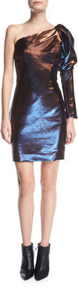 Neiman Marcus Marlene Olivier Celine One-Shoulder Shirred Long-Sleeve Metallic Cocktail Dress