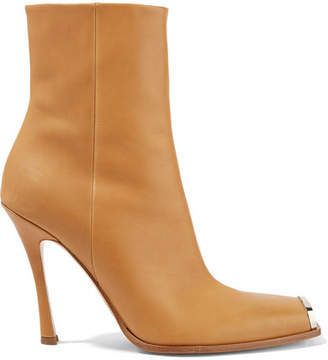 Calvin Klein Wilamiona Metal-trimmed Leather Ankle Boots - Tan