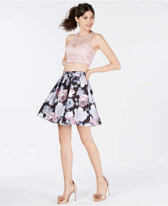 My Michelle Juniors' 2-Pc. Lace & Floral Dress, Created for Macy's
