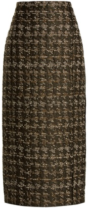 CARL KAPP Forest hound's-tooth pencil skirt