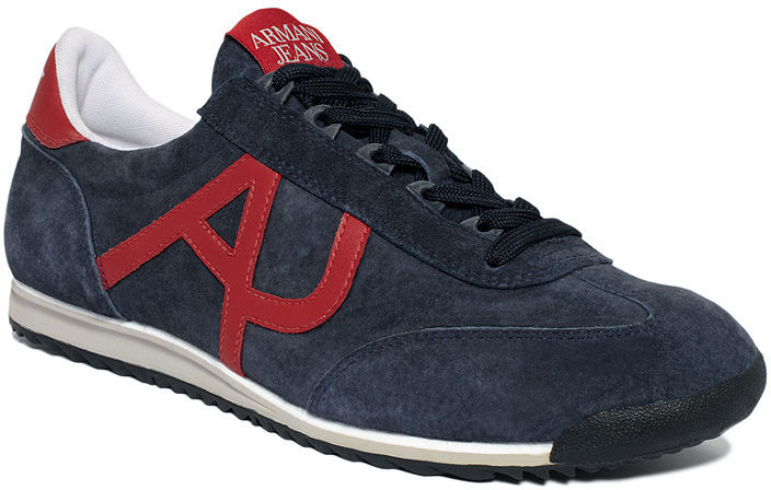 The North Face Armani Jeans Shoes, Washed Nubuck Logo Sneakers