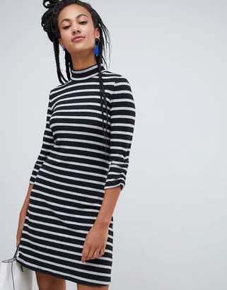 Esprit high neck stripe dress in black and white