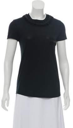 de198b6d456421 Chanel Leather-Trimmed Crew Neck T-Shirt w/ Tags