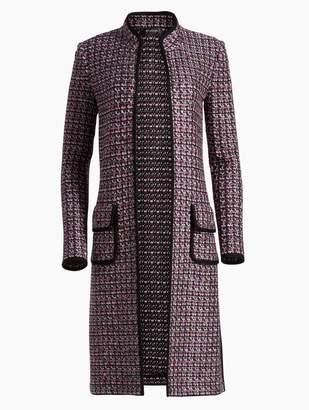 St. John Painterly Sheen Tweed Knit Mandarin Collar Jacket