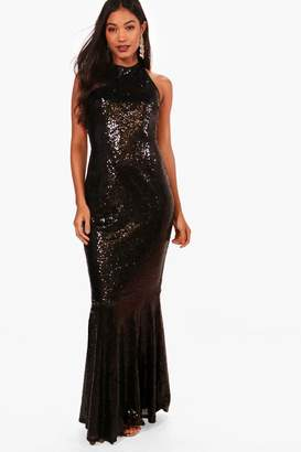 boohoo Boutique Sequin Open Back Maxi Dress