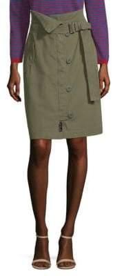 Max Mara Virtus Zip Front Military Pencil Skirt