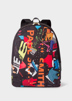 Paul Smith Men's 'Cycle Gloves' Print Canvas Backpack