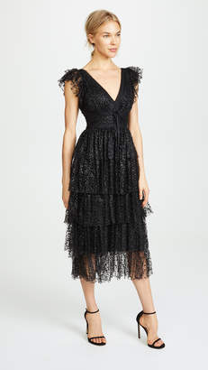 Marchesa Flutter Sleeve Cocktail Dress