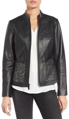 Women's Elie Tahari Laser Cut Leather Jacket $798 thestylecure.com