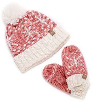 Peppercorn Kids Snowflake Pompom Beanie & Mitten Set (Little Girls & Big Girls)