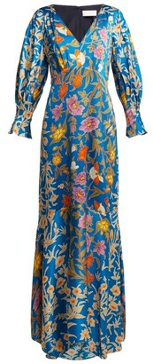 Peter Pilotto Floral Print Hammered Silk Blend Gown - Womens - Blue Multi
