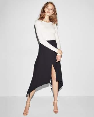 Express Asymmetrical Slit Front Midi Skirt