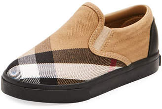 Burberry Linus Check Canvas Slip-On Sneaker, Toddler/Youth Sizes 10T-3Y